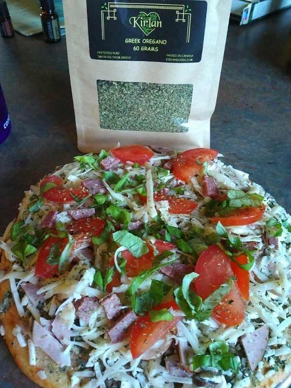 homemade pizza with greek oregano