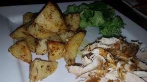 roast chicken potato dinner plate