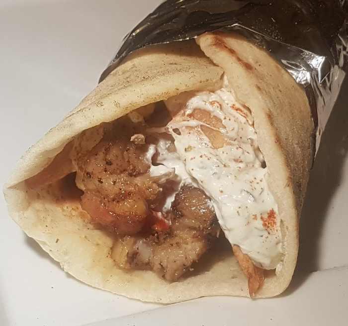 homemade souvlaki with greek pita
